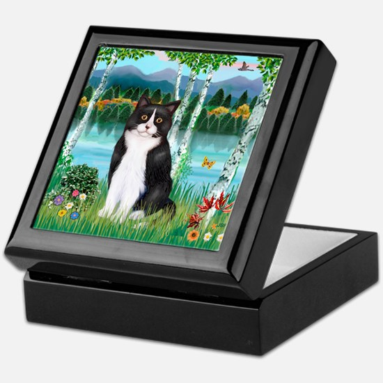 Birches / (B&W) Cat Keepsake Box