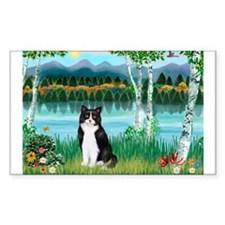 Birches / (B&W) Cat Rectangle Decal
