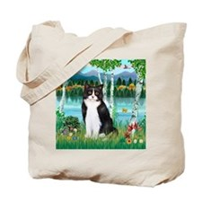 Birches / (B&W) Cat Tote Bag