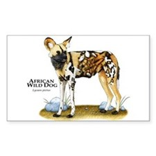 African Wild Dog Rectangle Decal