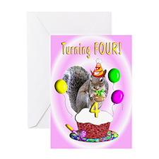 Girl 4th Birthday Greeting Card