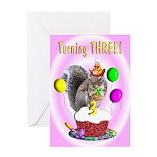 Girl 3rd Birthday Greeting Card