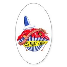 Crime Scene Cupcake Oval Decal