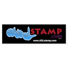 Blue on Black ASL Logo Bumper Bumper Sticker