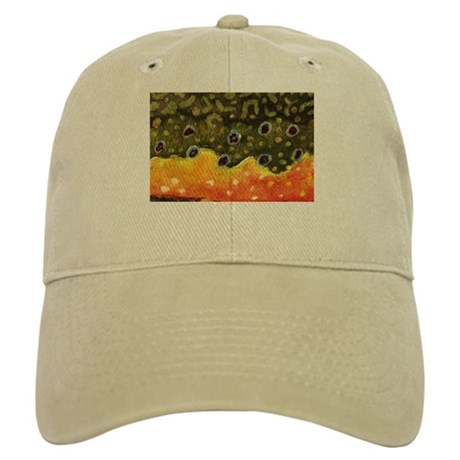 Brook trout fly fishing hat by troutwhiskers for Fly fishing cap