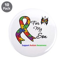 """Autism Support Son 3.5"""" Button (10 pack)"""