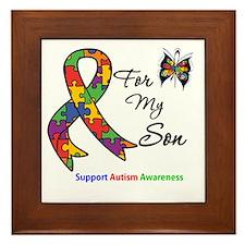 Autism Support Son Framed Tile