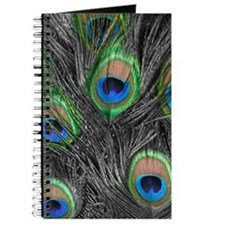 Black and White Peacock Feathers Journal