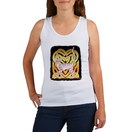 Tiger Cat Gold Celt Heart Women's Tank Top
