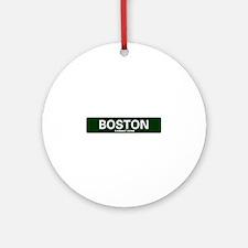 USA STREET SIGN - BOSTON - COMBAT Z Round Ornament