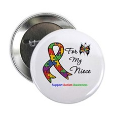 """Autism Support Niece 2.25"""" Button (10 pack)"""