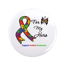 """Autism Support Hero 3.5"""" Button (100 pack)"""