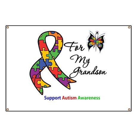 Autism Support Grandson Banner