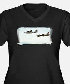 B-24 and B-17 Flying Women's Plus Size V-Neck Dark