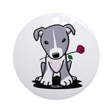 Blue Pit Bull Ornament (Round)