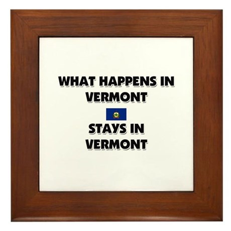 What Happens In VERMONT Stays There Framed Tile