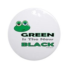 oddFrogg Green Is The New Black Ornament (Round)