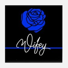 Police Wife Rose Tile Coaster