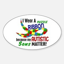 I Wear Puzzle Ribbon Sons 33 Oval Decal