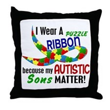 I Wear Puzzle Ribbon Sons 33 Throw Pillow
