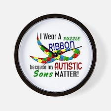 I Wear Puzzle Ribbon Sons 33 Wall Clock