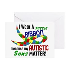 I Wear Puzzle Ribbon Sons 33 Greeting Card