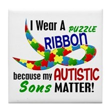 I Wear Puzzle Ribbon Sons 33 Tile Coaster