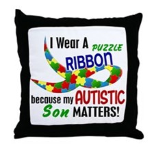 I Wear Puzzle Ribbon Son 33 Throw Pillow