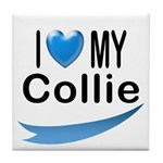 I Love My Collie Tile Coaster