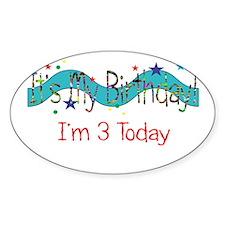 Birthday Three Oval Decal