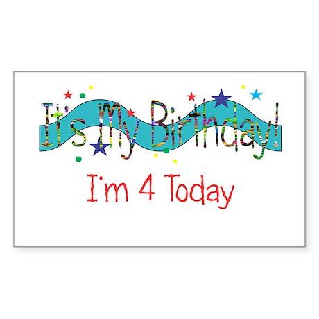 Four Birthday Rectangle Sticker