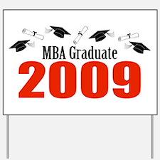 MBA Graduate 2009 (Red Caps And Diplomas) Yard Sig