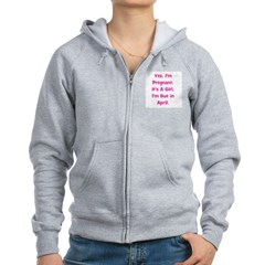 Pregnant w/ Girl due April Zip Hoodie