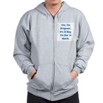 Pregnant w/ Boy due March Zip Hoodie