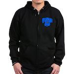 Puppy Dog Design (Dogs Blue) Zip Hoodie (dark)