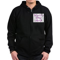 World's Best Aunt! - Purple Zip Hoodie