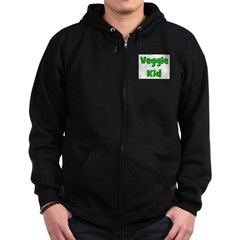 Veggie Kid - Green Zip Hoodie (dark)