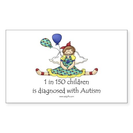 Autism 1 in 150 Rectangle Sticker 10 pk)