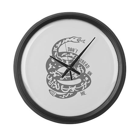 Dont Tread Snake Gray Large Wall Clock