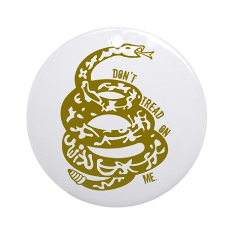 Dont Tread Snake Yellow Ornament (Round)