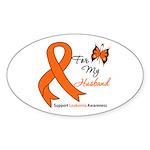 Leukemia Ribbon Husband Oval Sticker