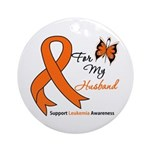 Leukemia Ribbon Husband Ornament (Round)