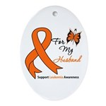 Leukemia Ribbon Husband Oval Ornament