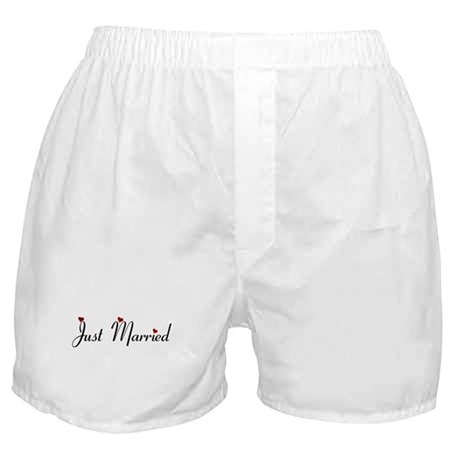 Heart Script Just Married Boxer Shorts