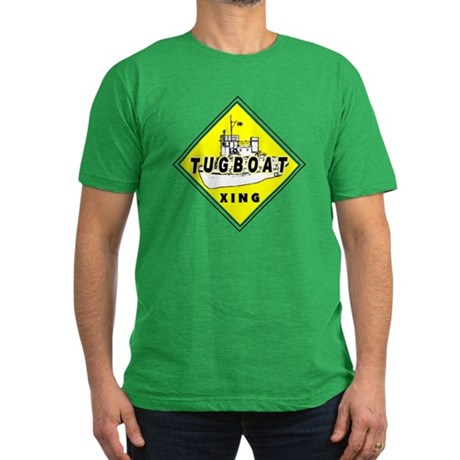 Tugboat Xing sign Men's Fitted T-Shirt (dark)