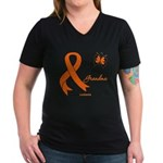 Leukemia Ribbon Grandma Women's V-Neck Dark T-Shir