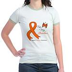 Leukemia Ribbon Grandma Jr. Ringer T-Shirt