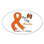 Leukemia Ribbon Grandma Oval Sticker (10 pk)