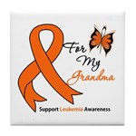 Leukemia Ribbon Grandma Tile Coaster