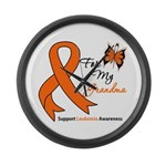 Leukemia Ribbon Grandma Large Wall Clock